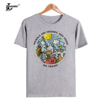 Lei-SAGLY ANIMALS ARE FRIENDS Not Food Letters Print Women T-Shirt Cotton Casual Funny Women T Shirts For Lady Hipster Top Tee