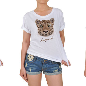 Women Portraits of Leopard Graphic Printed Cotton T-shirt  WTS_12
