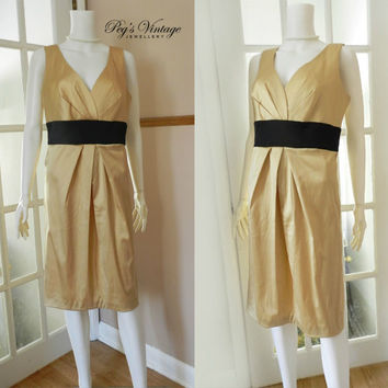 Vintage Donna Ricco Gold Satin Sheath / Silk Cocktail Sleeveless V Neck Dress / New York Donna Ricco Fashion Clothing