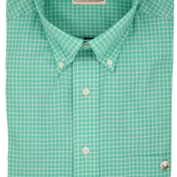Button Down in Seafoam Small Check by Cotton Brothers
