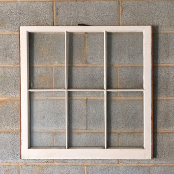 Vintage 6 Pane Window Frame - Off White, 32 x 32,  Rustic, Wedding, Beach, Home, Decor, Photos, Pictures, Christmas, Holiday Decor