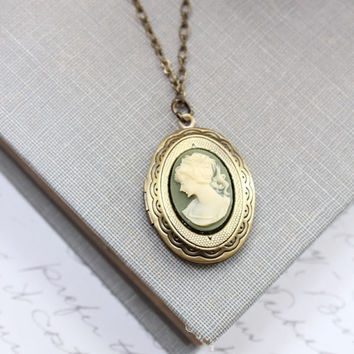 Oval Locket Necklace Green Ivory Cream Cameo Pendant Antique Brass Lady Face Profile Silhouette Picture Photo Locket Secret Hiding Place