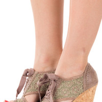 Taupe Embellished Wedge with Lace Detail