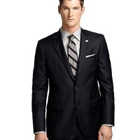 Fitzgerald Fit Saxxon™ Wool Blue and White Alternating Stripe 1818 Suit - Brooks Brothers