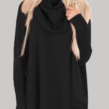 Black Oversize Long Sleeve Cowl Neck Casual Pullover Sweater