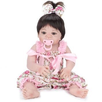 22'' baby alive reborn bonecas handmade Lifelike Reborn Baby Doll Girls Full Body Vinyl Silicone with Pacifier child gift