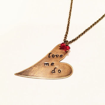 "The Beatles ""Love Me Do"" Heart Necklace, Vintaj Hand Stamped"