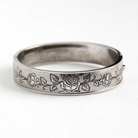Vintage Rose Bangle - Sterling Silver Flower Design Bracelet - 1940s Floral Vine Black Enamel Taille d'Epargné Jewelry Signed Hayward