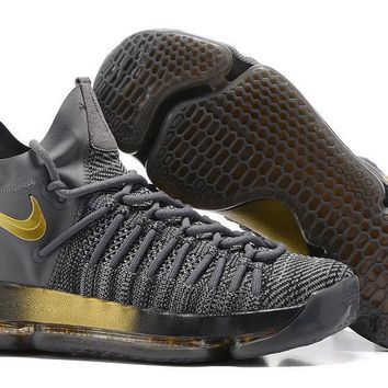 auguau Nike Men's Durant Zoom KD 9 Flyknit Mid-High Basketball Shoes Grey Golden 40-46