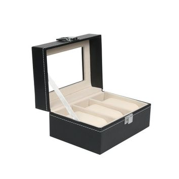 High Quality Watch Box Large 3 Grids Mens Black PU Leather Display Jewelry Case Organizer Gift Box Storage Case with Lock and Mirror