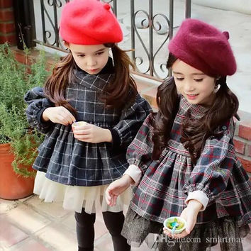New Sweet Kids Girls Plaid Cotton Ruffles Jackets Outwears Western Vintage Princess Fall Winter Clothing