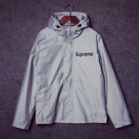 Supreme Unisex Lighting Windbreaker Spureme Thin and thick Silver reflective clothes Front