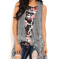 Sleeveless Rocker Duster with Waterfall Front and Fringe Trim