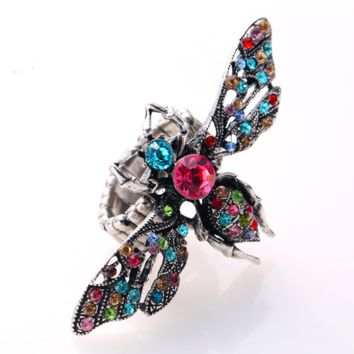 Vivid Acrylic Bee Rhinestone Ring With Elastic Stretch Fit
