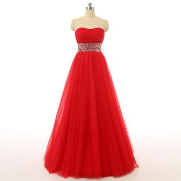 Red Long Prom Dresses Tulle Sweetheart Sash Beaded Prom Dresses Floor Length