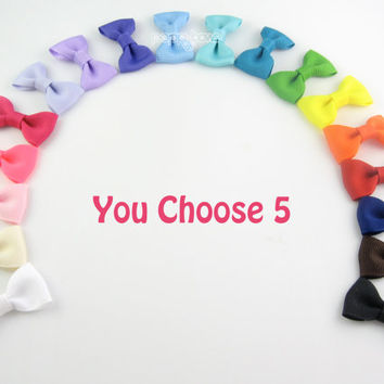 Baby Hair Bows NEW STYLE - 5 Pack Little Snap Clips - Small Hairbows - Over 40 Colors For Newborn Toddler Girls - 2 Inch Bows Non Slip Grip