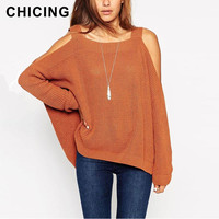 CHICING 2015 Autumn Off the Shoulder Knitted Sweater Pull Femme Casual Women Jumpers Long Sleeve Loose Pullovers Plus B1507025