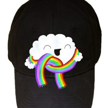 'Mr. Cloud's New Scarf' w/ Face Wearing Rainbow Scarf - 100% Adjustable Cap Hat