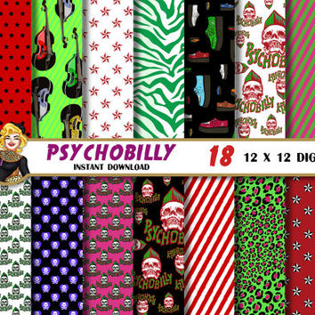 Psychobilly punk rock digital paper, skull, stripes, bass, leopard, zebra, nautical star,  Scrapbooking Paper, patterns, backgrounds