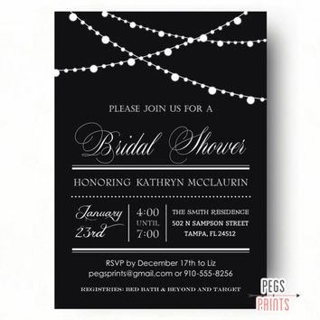 Black and White Bridal Shower Invitations - Modern Bridal Shower Invitation - PRINTABLE Bridal Shower Invitation - Black Wedding Shower