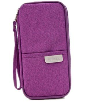 Seawhisper Durable Waterproof Nylon Travel Bag Document Wallet with Hand Strap Passport Credit ID Card Cash Travel Wallet Clutch Purse Holder Case Document Organizer Zip - purple