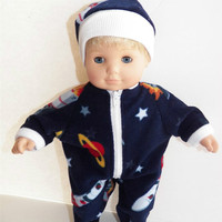"""American Girl Bitty Baby Clothes 15"""" Doll Clothes Navy Blue Space Polar Fleece Zip Pajamas Pjs and hat /cap"""