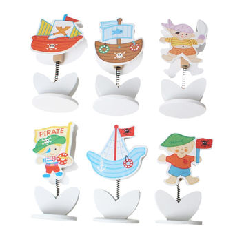 Wood Name Note Card Holder Photo Clip Stand Office Supply Multicolor Pirate 24.0cm x 21.0cm,1 Box(Approx 12PCs) 2015 new
