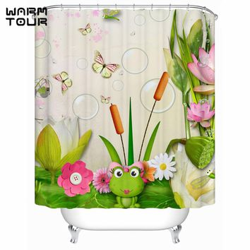 Cartoon Frogs Butterflies Bushes Screen Shower Curtains Eco-Friendly Waterproof Bath Curtains Bathroom Products WTC183