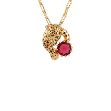 Les Néréides CHARMING FELINES PANTHER SMALL RUBY SHORT GOLD NECKLACE