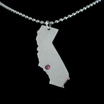 Personalized California Aluminum Pendant Necklace, Cali, CA