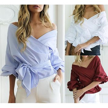 Sexy Off-The-Shoulder V-Neck Shirt