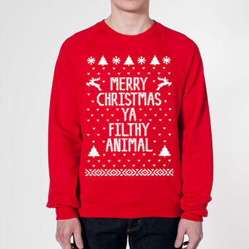 Merry CHRISTMAS Ya FILTHY Animal - funny hip retro movie xmas cool ugly sweater contest party humorous new - Mens Sweatshirt DB0002