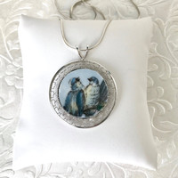 Necklace, Broken China Jewelry Bird Necklace, Bird Jewelry, Bird Lover Gift, Blue, Handmade Jewelry, Shabby Chic, Birthday Gift Her
