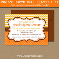 Thanksgiving Invitation - Printable Thanksgiving Dinner Invitation - EDITABLE Thanksgiving Invite - Fall Invitations - Autumn Invitations