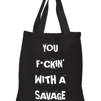 "Demi Lovato ""Sorry Not Sorry / You F*ckin' With a Savage"" 100% Cotton Tote Bag"