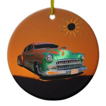 Classic Car Double-Sided Ceramic Round Christmas Ornament
