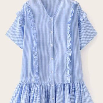 Ruffle Hem Gingham Frill Shirt Dress