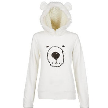 Cream Polar Bear Faux Fur Lined Hoodie
