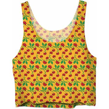 Frida Kahlo Flower Pattern Crop Top