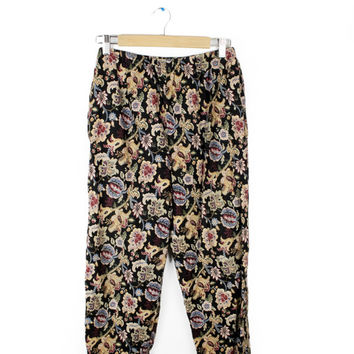 Vintage 80s Baggy Floral Harem Pants / 80s/90s Elastic Stretch Waist Boho Paisley Tropical Flower Trousers with Deep Pockets / Womens size 1
