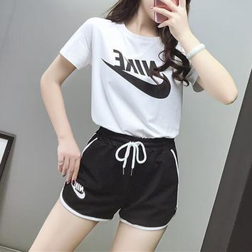 Nike Women Sport Casual Letter Logo Print Short Sleeve Shorts Set Two-Piece Sportswear