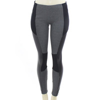 Black & Gray Faux Leather Spandex Zipper Leggings