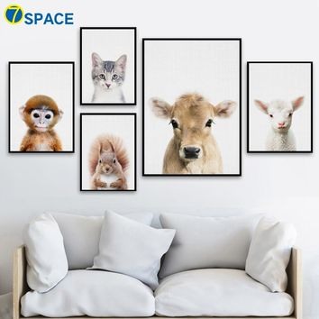 Cow Sheep Cat Monkey Squirrel Wall Art Canvas Painting Nordic Posters And Prints Nursery Wall Pictures Kids Room Baby Room Decor