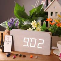 White Wooden LED Digital Alarm Clock