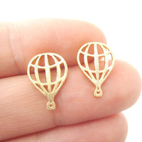 Miniature Hot Air Balloon Outline Cut Out Shaped Stud Earrings in Gold   DOTOLY
