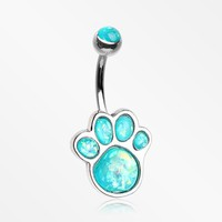 Adorable Paw Print Opalescent Sparkle Belly Button Ring
