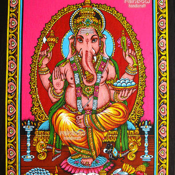 pink Indian hindu elephant god ganesh ganesha sequin coton fabric religious painting wall hanging tapestry ethnic home decor art India
