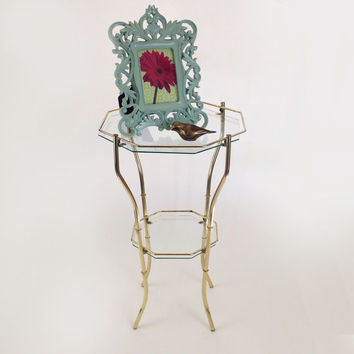 Vintage Brass and Glass 2-Tiered Octagonal Table / Hollywood Regency Furniture