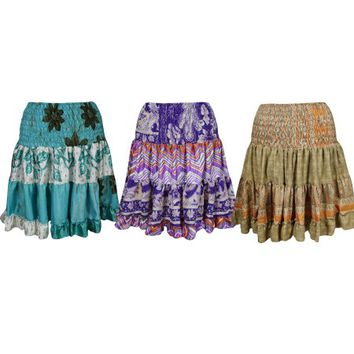 Mogul Womens Vintage Recycled Full FlareTiered Retro Printed High Waist Knee Length Skirts Wholesale Lots Of 3 - Walmart.com