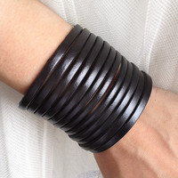 Sliced Black Leather Cuff Bracelet Adjustable With by pier7craft